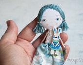 Romantic Girl with Rabbit, Art doll brooch, Personalized gift for her