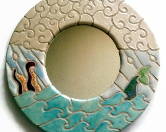 Mosaic Mirror - Ocean Waves with Octopus and Mermaid Tail