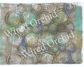 Laser Copy of Original Acrylic Artwork / Turquoise, Gray, Lime Green, White Circle Design
