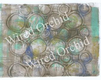 Laser Copy of Original Acrylic Artwork / Turquoise, Gray, Lime Green, White Circle Design