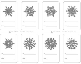 8 Snowflake Gift Tags Black-White Gift Tags Christmas Gift