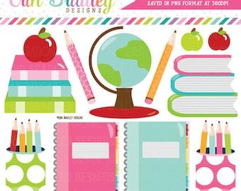School Supplies Clipart Digital Graphics Set Books Globe Notebooks Pencils Apples Teachers Clip Art Graphics Instant Download