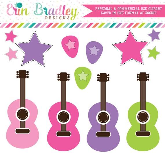 Rockstar Girls Clipart, Guitar Clipart, Music Clip Art, Commercial Use Clip Art Graphics