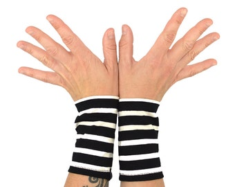 Arm Warmers in Zebra Stripes - Black and White Striped Cuffs