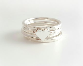 Heart stacking rings - sterling silver rings - stacking rings - set of 4
