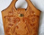 Vintage Tooled Leather Caramel Colored Tote Handbag