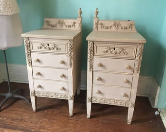 Fab french antique nightstand pair shabby chic nightstands bedroom ivory distressed