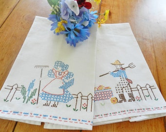 Farmer Towels, Farmer Kitchen Towels, Hand Embroidered Towels, Harvest Towels, Farmhouse Towels, Sun Bonnet Sue Towel, FREE USA SHIPPING