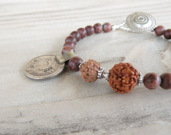 Gypsy Mala Bracelet - Boho, Gemstone, Stacking Bracelet, Mookaite Jasper, with Old Coin Charm and Rudraksha Prayer Beads