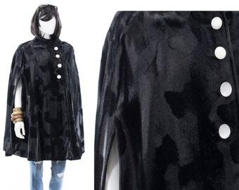 1950s Swing Coat Black Velvet Opera Jacket Vintage 1960s Animal Print Wrap Cape Coat Free Size