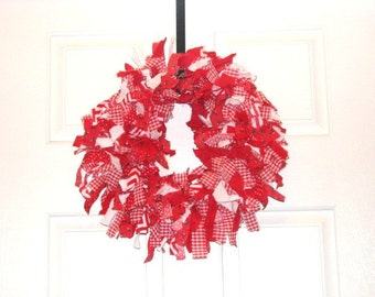 Red and White Fabric Wreath Photography Background,  Wall Hanging, Home Decoration, Holiday Decoration