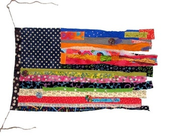 Colorful Fabric Scrap Flag, wall hanging, garden flag, home decor, wall decoration