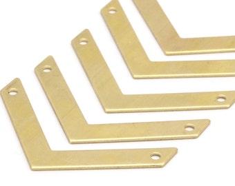 12 Raw Brass Chevron  (40x5x0.80mm) D418--N631
