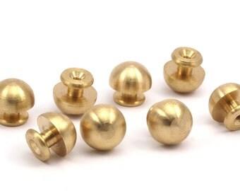 5 Raw Brass Drawer Handles , (14x14.5mm) K209