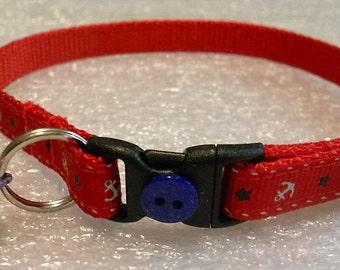 Nautical Cat or Kitten Breakaway Collar - Red grosgrain ribbon with white anchors, girl cat, boy cat, patriotic