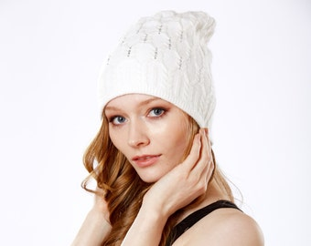 Women's Gift- Slouchy Hat- Knit Cable Beanie- Cashmere Wool Hat- Beanie- Warm Winter Hat- Women's Hat- Fall Accessories