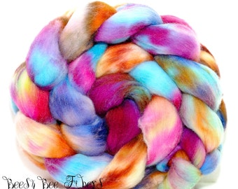 HIPPY DIPPY - Wool roving, hand dyed Organic Polwarth combed top, spinning or felting supplies - 4.2 oz