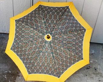1950's Oscar Nailon Floral Print Umbrella with Wooden Handle