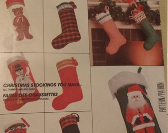 Vintage 1980's McCalls 776 Holiday Christmas Stockings Craft Sewing Pattern UNCUT