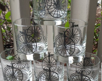 Set of 6 Hi-Wheel Bicycle Barware Drinking Glasses