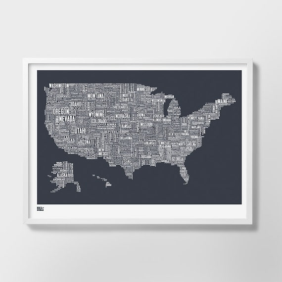 USA Type Map, USA Word Map, United States Screen Print, United States Wall Poster, USA Wall Poster, America Art Print