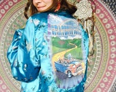 Grateful Dead Truckin' Reversible Turquoise/Gold Floral Print Asian Silky Kimono Jacket Size Large