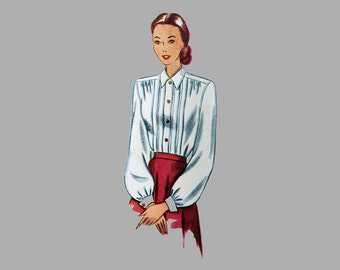 1948 Blouse Sewing Pattern, Simplicity 2277, Front bodice tucks, Fold back cuffs, Long and short sleeves, Simple to Make, Bust 30, Size 12