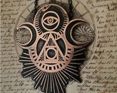 Talisman Necklace - Handmade and one of a kind - drawn, etched and cut by hand