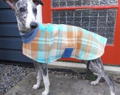 plaid in coffee and blue...winter coat for a whippet in vintage wool blanket