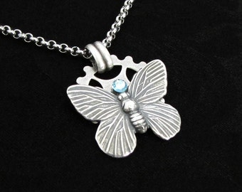 Time Flutters - Steampunk Necklace, Silver Butterfly Necklace, Aquamarine Necklace, Cute Necklace, Minimal Necklace, Butterfly Jewelry