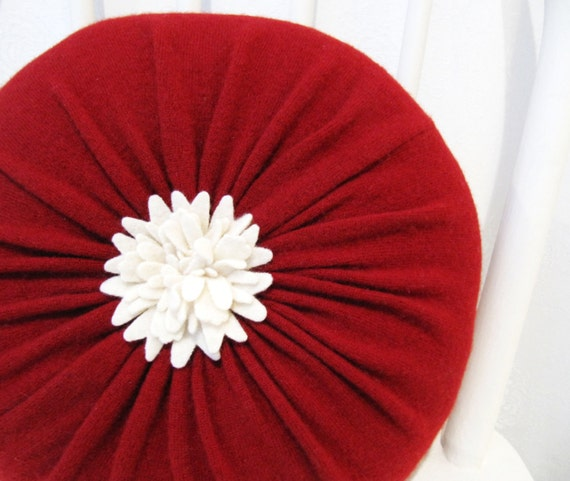 Red Cashmere Round Flower Throw Pillow / Accent by mmwolters