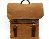 Tall Waxed Canvas Backpack w/ Padded Straps / Rust Plaid Recycled Wool READY TO SHIP