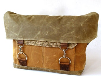Waxed Canvas Messenger Bag / Camel Herringbone Recycled Wool & Oiled Leather