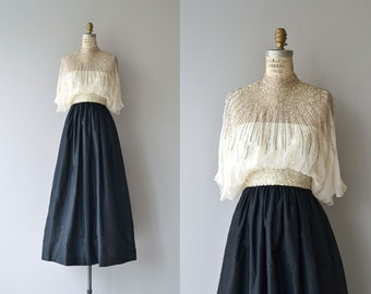 Alfred Bosand gown | vintage 1970s dress | beaded silk 70s dress