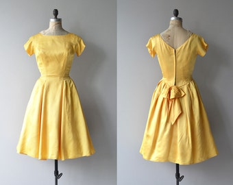Star Witness dress | vintage 1950s dress | yellow 50s party dress