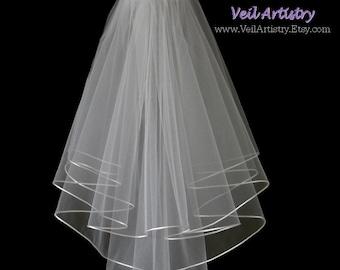 Short Wedding Veil, Brilliance Veil,  2 Tier Veil, Satin Cord Edge Veil, Corded Veil, Oval Veil, Made-To-Order Veil, Custom Veil