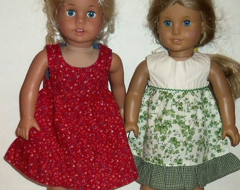 Cotton Sundress, 18 inch Doll, 15 Inch Baby Doll, American Made, Girl Doll Clothes, Ivy Summer Dress, Ruffle Red Dress, Sale Priced