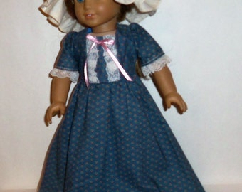 18 Inch Doll, Colonial Dress, Mob Cap, Pinner Cap, Pantaloons, Historical Costume,  American Made, Girl Doll Clothes