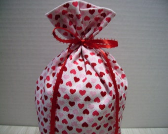 Valentines Day Gift Bag Hearts Red Pink Glitter