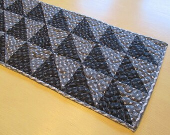 Monochromatic Black White And Gray Table Runner , Half Square Triangle Table Runner