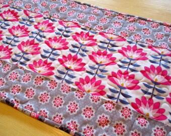 Gray And Pink Table Runner , Modern Gray Table Runner