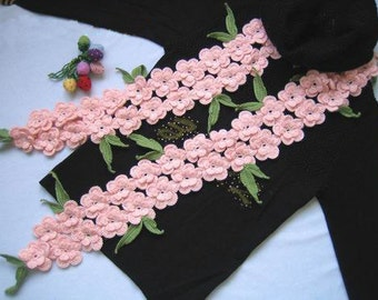 Pink peach flowers crochet wool scarf with green leaves