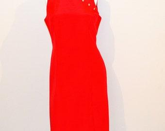 Vintage Dress Red with Rhinestones