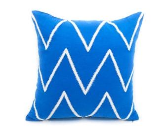 Chevron Pillow Cover, Royal Blue Linen Gray Silver Chevron Embroidery, Contemporary Pillow, Couch Pillow, Home Living decor, Blue Chevron