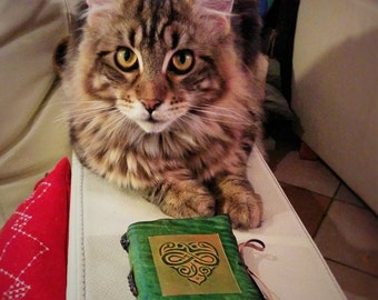 Green Heart Leather Journal
