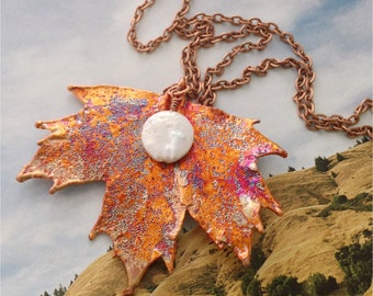 Real Maple Leaf, Copper iridescent, with wrapped pearl, copper chain, personalized initial choice