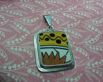Vintage 925 Sterling surround with Colorful Pottery Shard Center Pendant