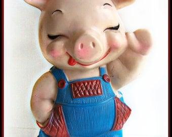 Vintage Piggy Bank , Russ Berrie 1974 Plastic Farmer Pig Coin Bank , No stopper , Adorable Farm Collectible