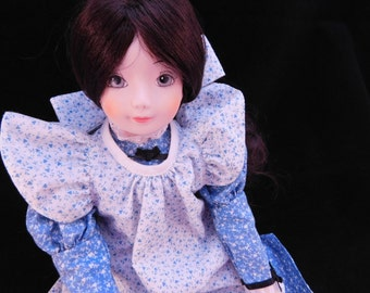 """Vintage Doll , Russ Calico Cousins """"Jessica"""" Porcelain collectible doll, Retro Gingham Dress ,Green Eyes , Brunette Wig with hang tag"""