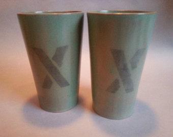 Ceramic pint glasses, set of two